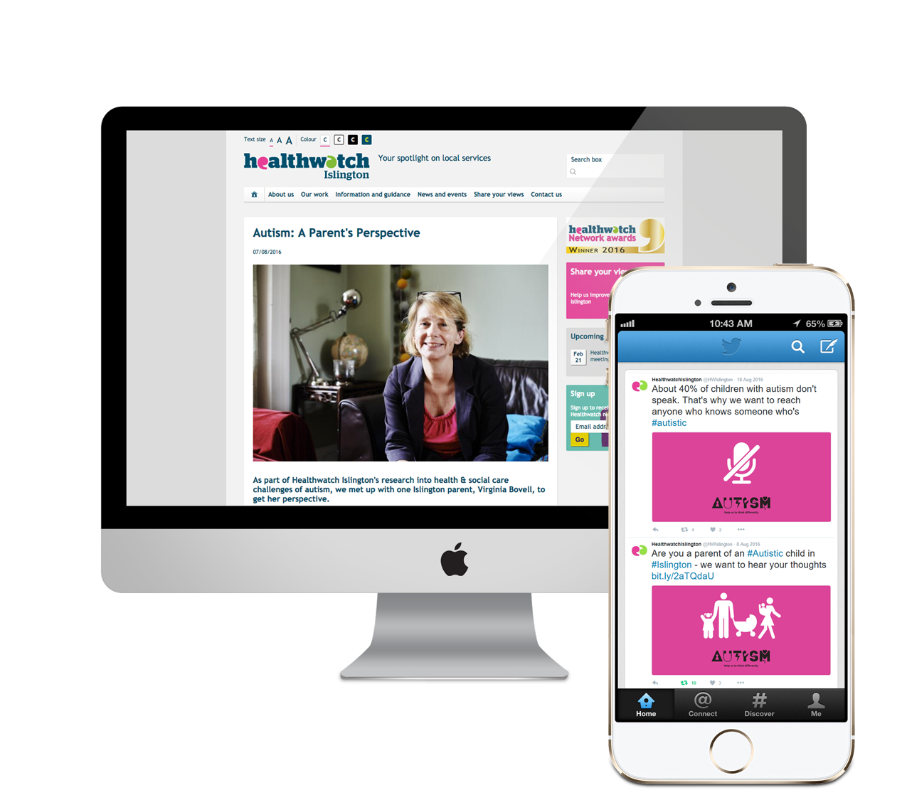 Healthwatch Autism campaign, 'Content' designed by West Creative