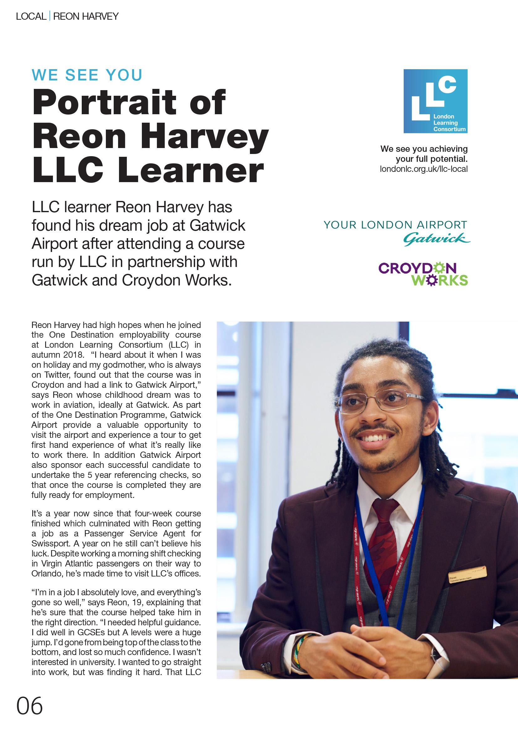 Portrait of Reon Harvey London Learning Consortium Learner