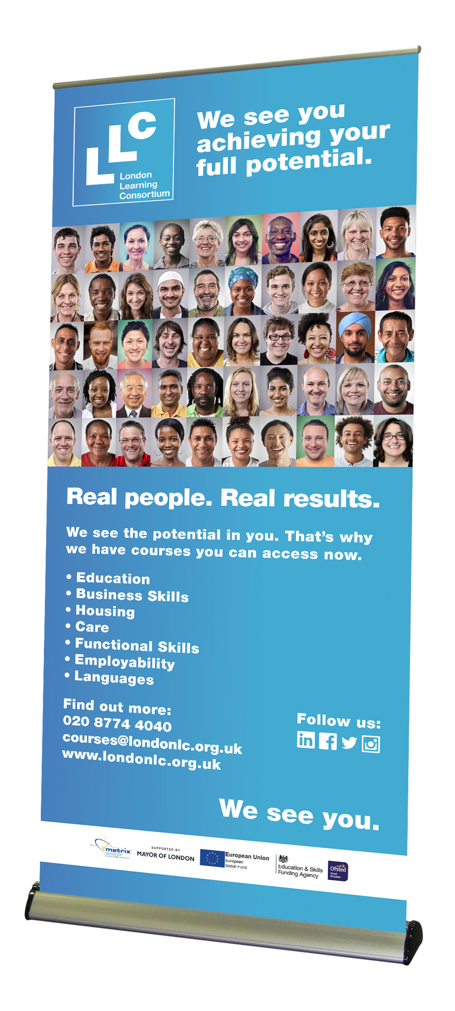London Learning Consortium pop-up banner