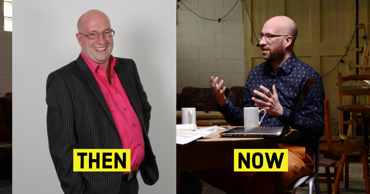 two photos of James West 10 years apart